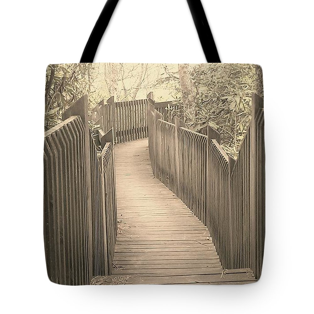 Boardwalk Tote Bag featuring the photograph Pathway by Melissa Petrey