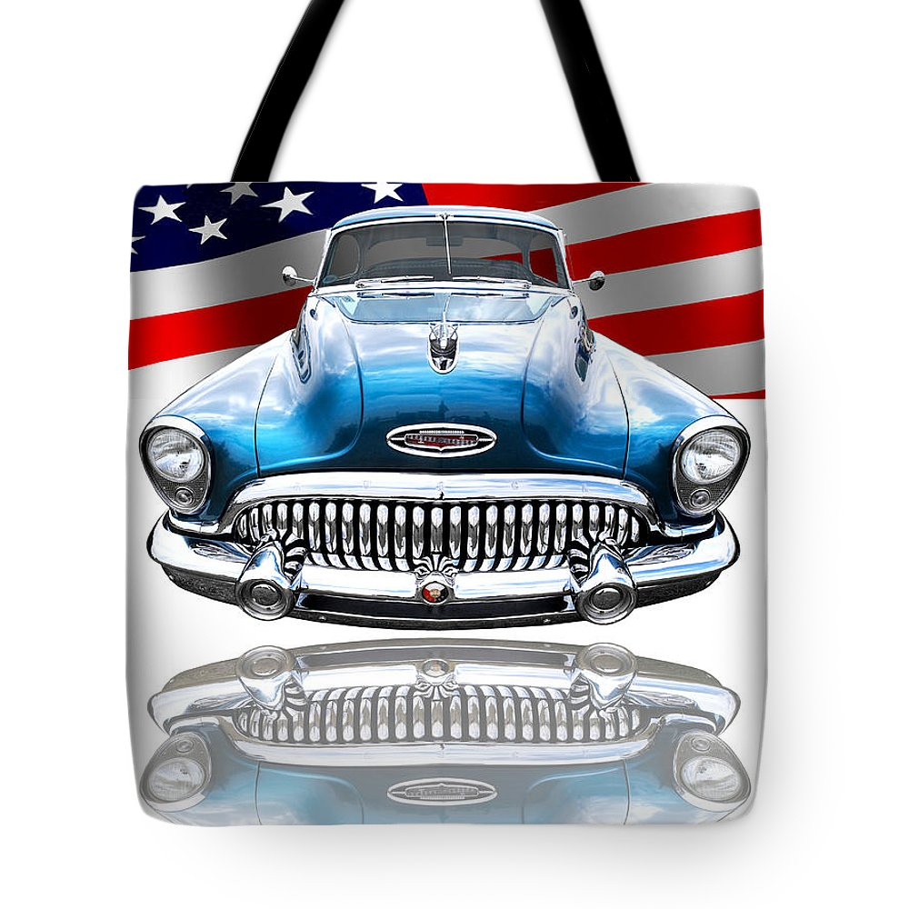 Buick Tote Bag featuring the photograph Patriotic Buick Riviera 1953 by Gill Billington