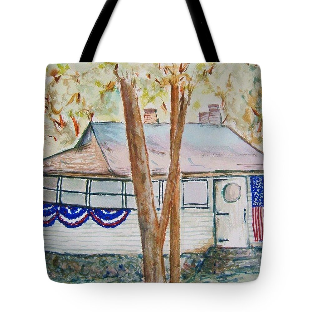 Lake Cottage Tote Bag featuring the painting Patriotic Cottage by Elaine Duras