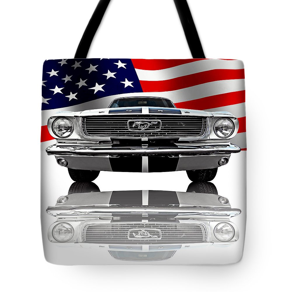 Ford Mustang Tote Bag featuring the photograph Patriotic Ford Mustang 1966 by Gill Billington