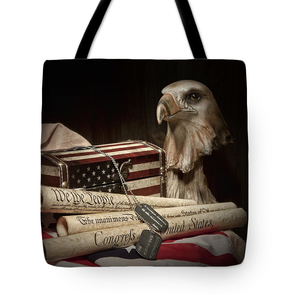 Eagle Tote Bag featuring the photograph Patriotism by Tom Mc Nemar