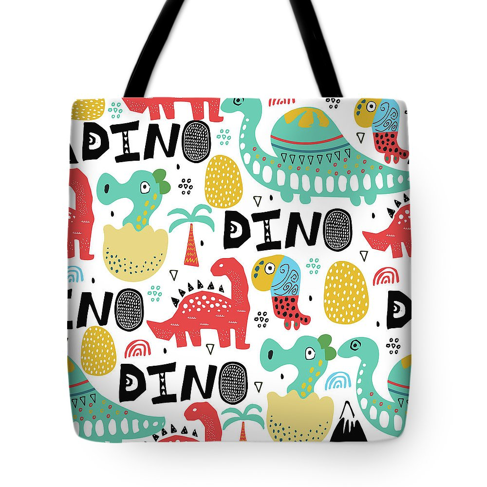 Printmaking Technique Tote Bag featuring the digital art Pattern With Dino,dinosaur With Palms by Olechkaolia