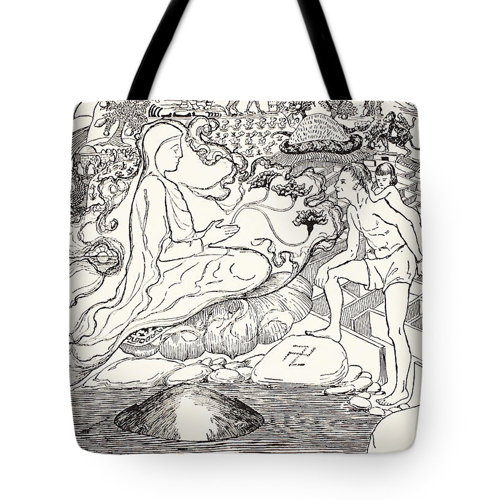 Kipling Tote Bag featuring the drawing Pau Amma The Crab Running Away While The Eldest Magician Was Talking To The Man And His Little Girl by Joseph Rudyard Kipling