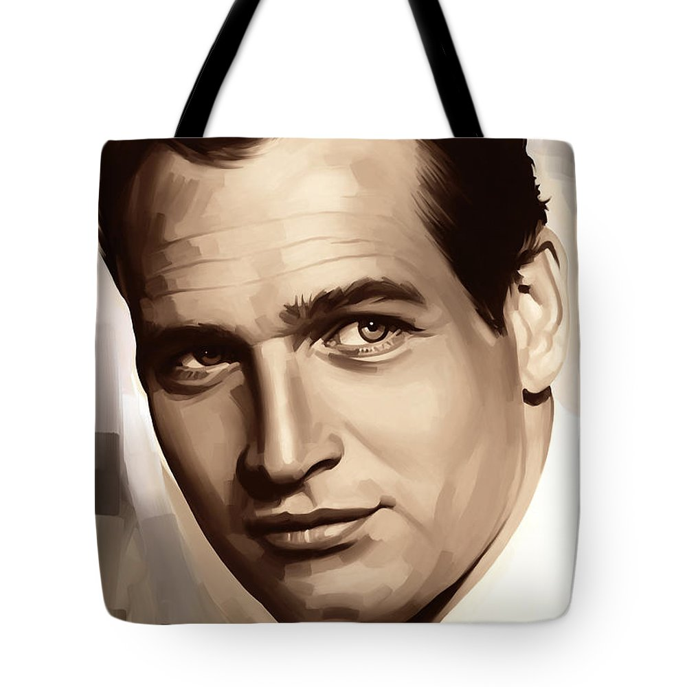 Paul Newman Paintings Tote Bag featuring the painting Paul Newman Artwork 1 by Sheraz A