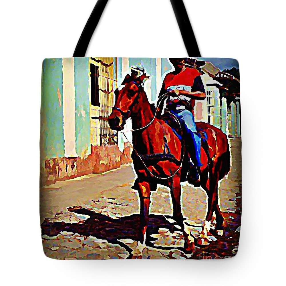 Horses Tote Bag featuring the painting Pausing For The Tourists by John Malone