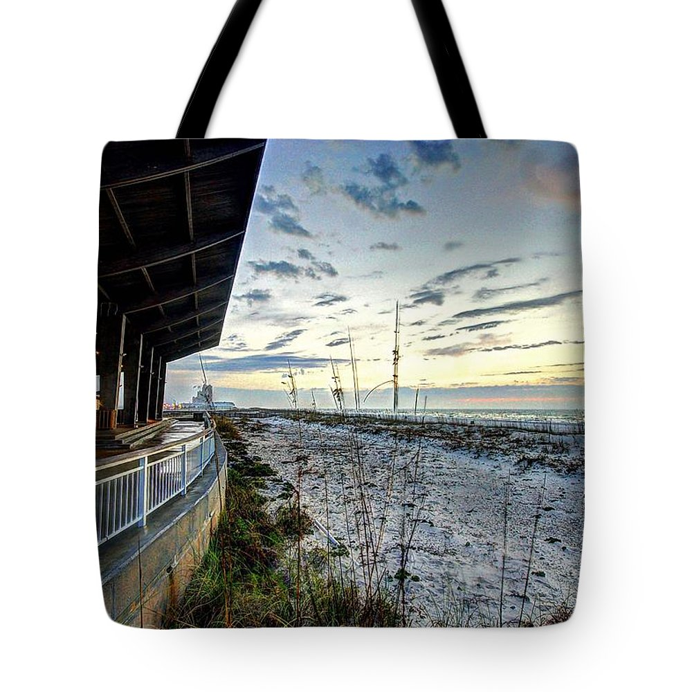 Alabama Tote Bag featuring the digital art Pavilian And The December Sunrise by Michael Thomas