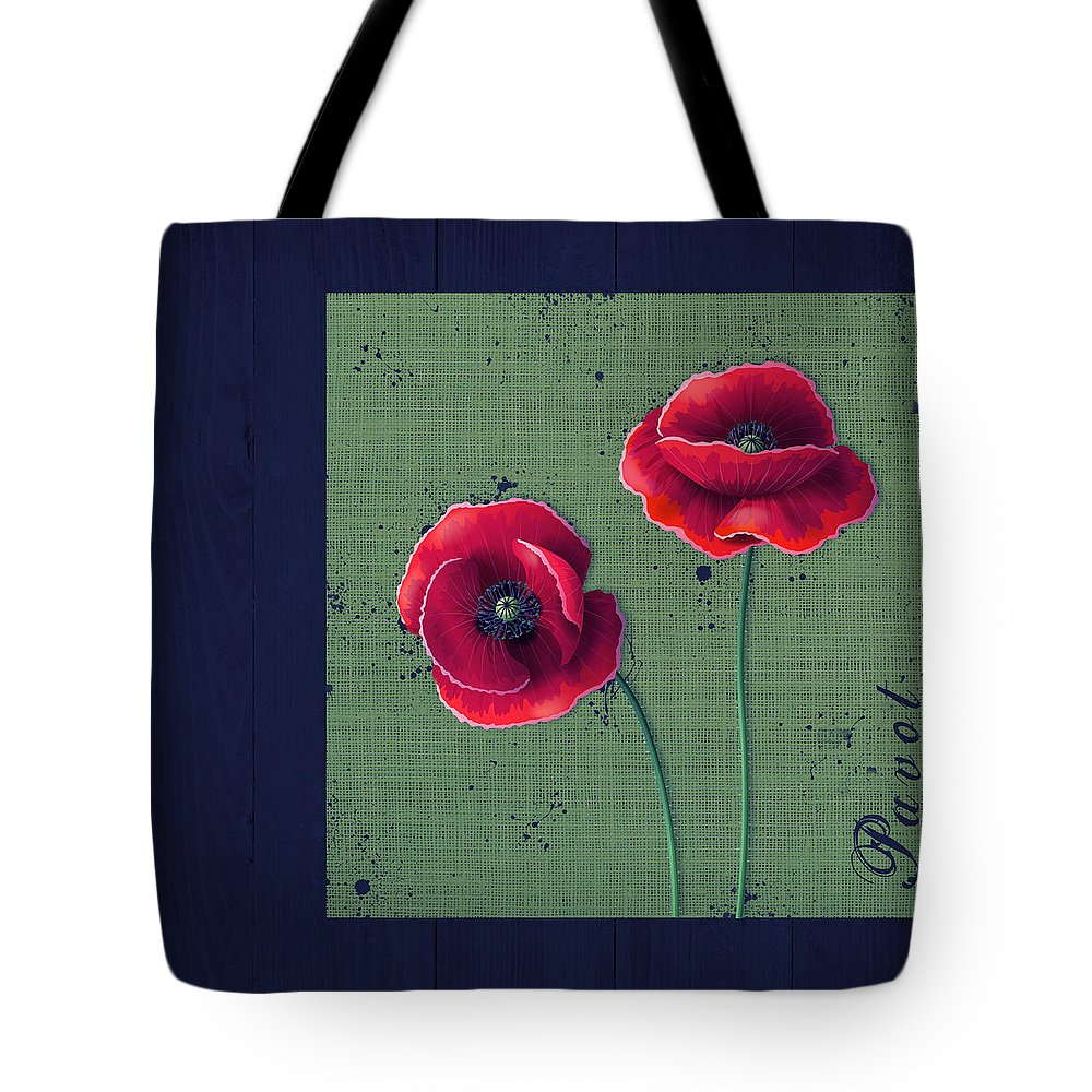 Poppies Tote Bag featuring the digital art Pavot - S01c08a by Variance Collections