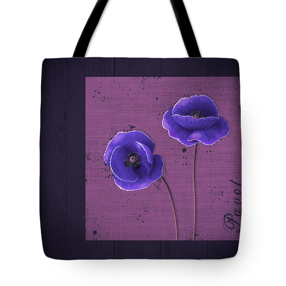 Poppies Tote Bag featuring the digital art Pavot - S01c09a by Variance Collections