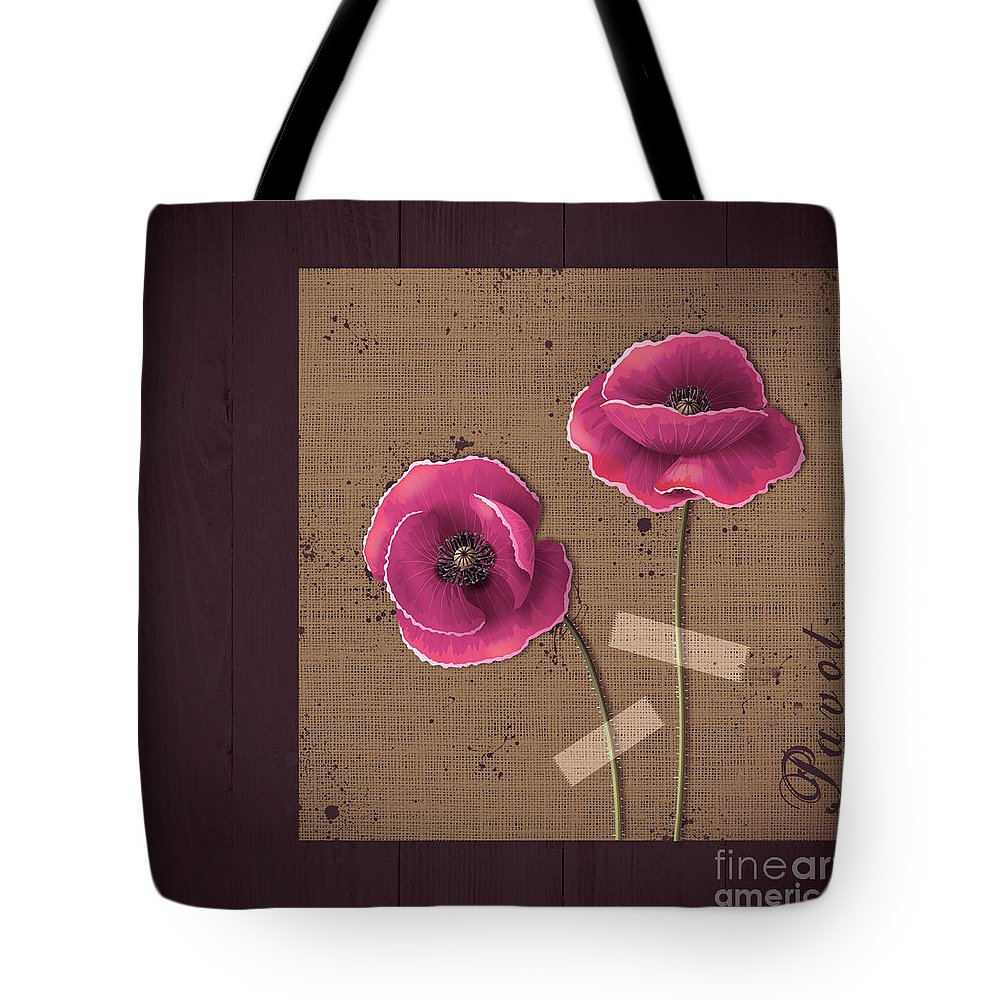 Poppies Tote Bag featuring the digital art Pavot - S02c11b by Variance Collections