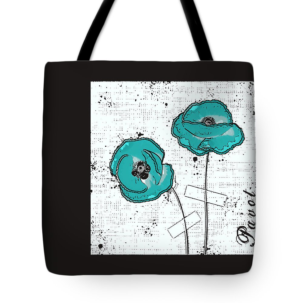 Now Tote Bag featuring the digital art Pavot - S05-02a by Variance Collections