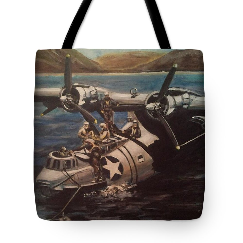 Us Navy Tote Bag featuring the painting Pby 5 Loading At Pearl Harbor by Richard John Holden RA