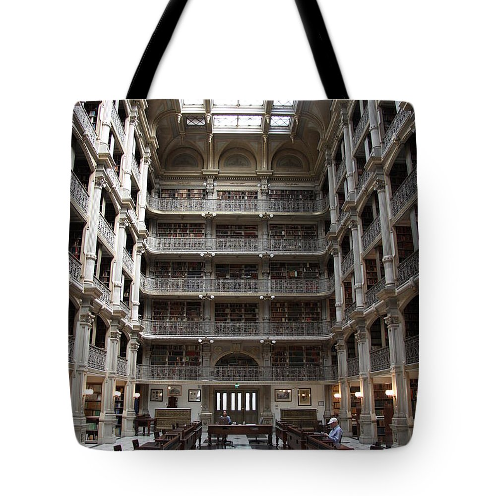 Library Tote Bag featuring the photograph Peabody Library Baltimore by Christiane Schulze Art And Photography
