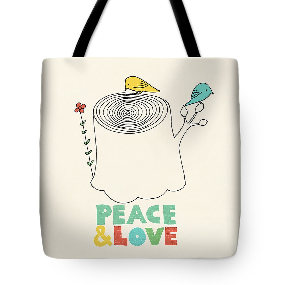 Birds Tote Bag featuring the drawing Peace And Love by Eric Fan
