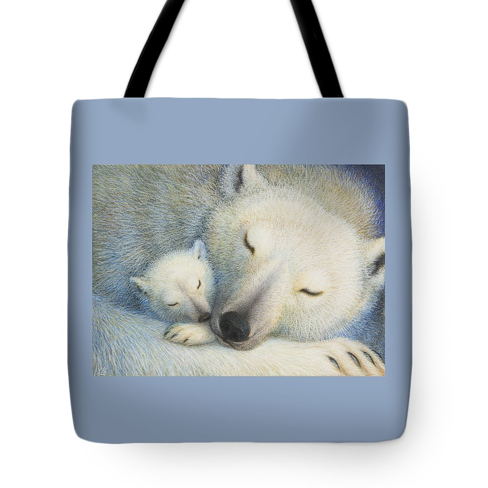 Polar Bears Tote Bag featuring the painting Peace by Lynn Bywaters