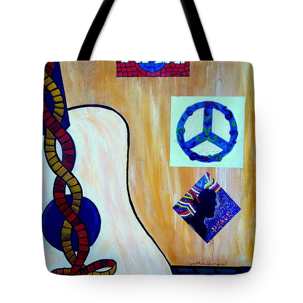 Music Tote Bag featuring the painting Peace - Music by Cynthia Amaral