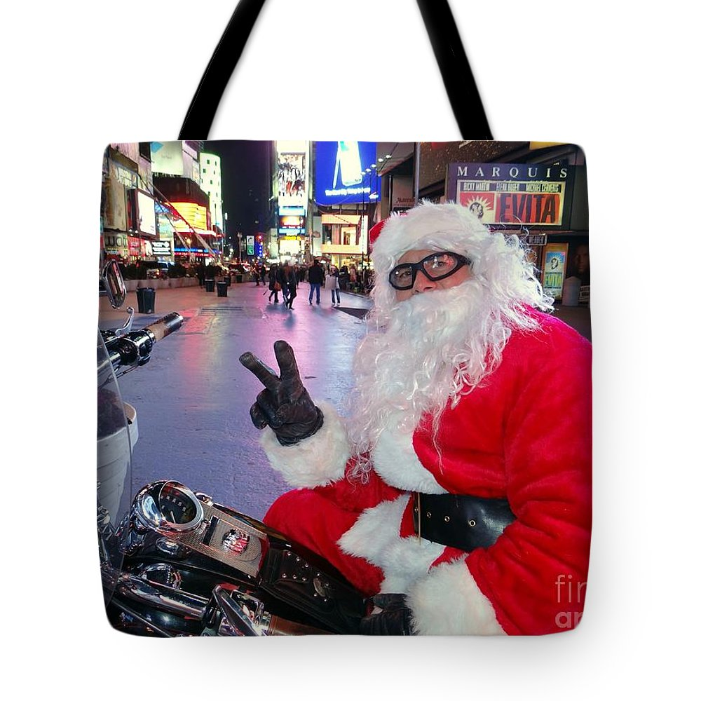Times Square Tote Bag featuring the photograph Peace Santa by Ed Weidman