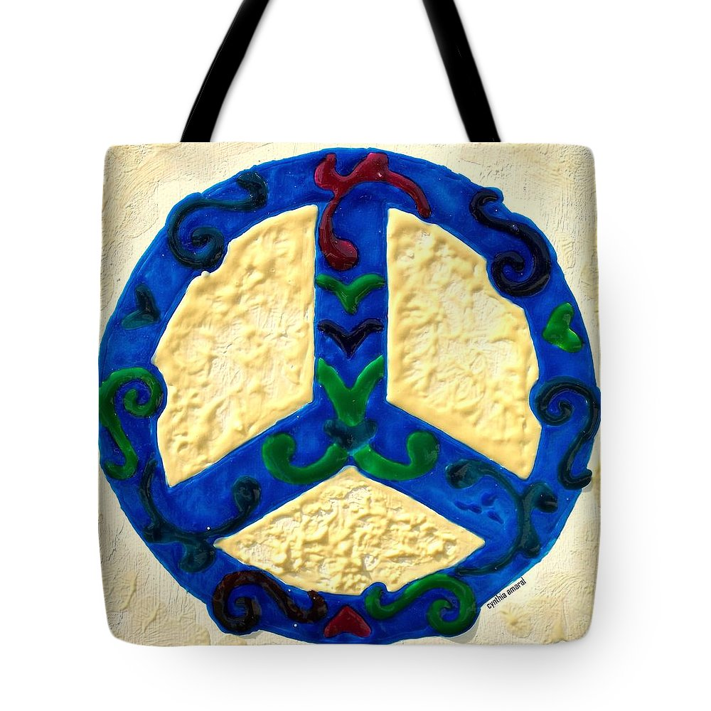 Peace Tote Bag featuring the painting Peace Sign by Cynthia Amaral