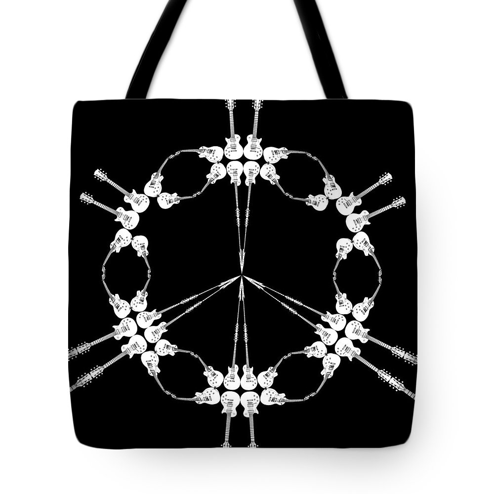 Music Tote Bag featuring the digital art Peace Symbol Made Of Electric Guitars by Nenad Cerovic