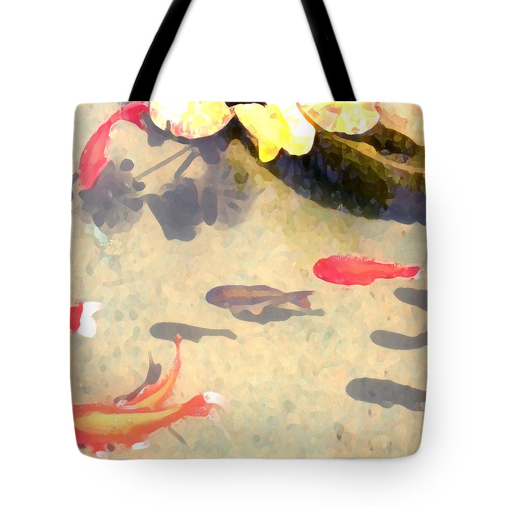 Fish Tote Bag featuring the photograph Peaceful Day In The Pond by Jeanne A Martin