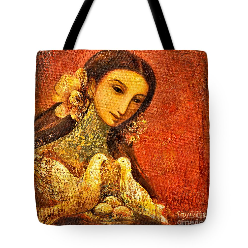 Beautiful Girl Tote Bag featuring the painting Peaceful by Shijun Munns