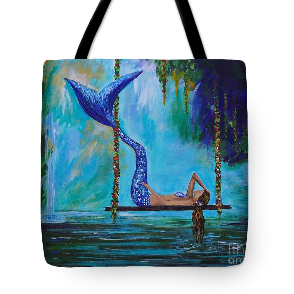 Mermaid Painting Tote Bag featuring the painting Peaceful Waters by Leslie Allen