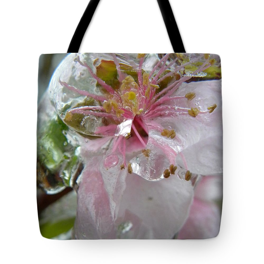 Peach Tote Bag featuring the photograph Peach Blossom In Ice Two by Sheri Lauren