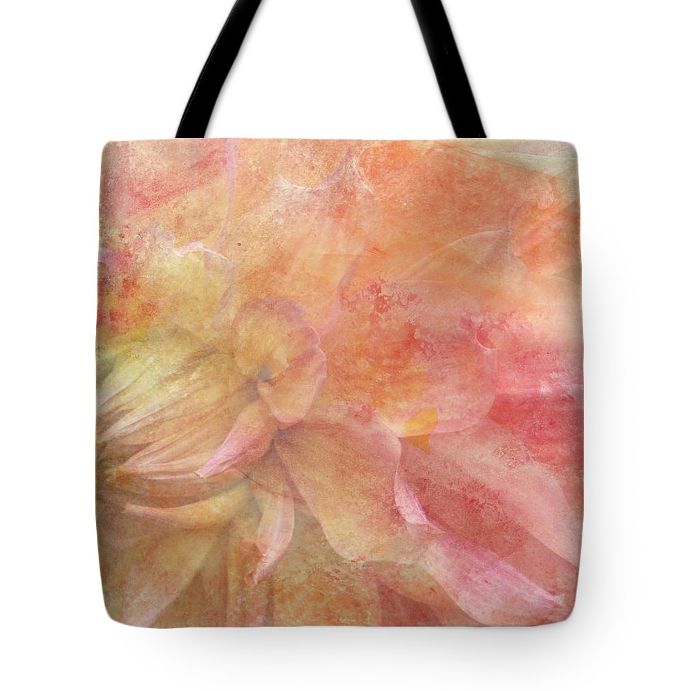 Mixed Media Tote Bag featuring the digital art Peach Dahlia by Donna Walsh