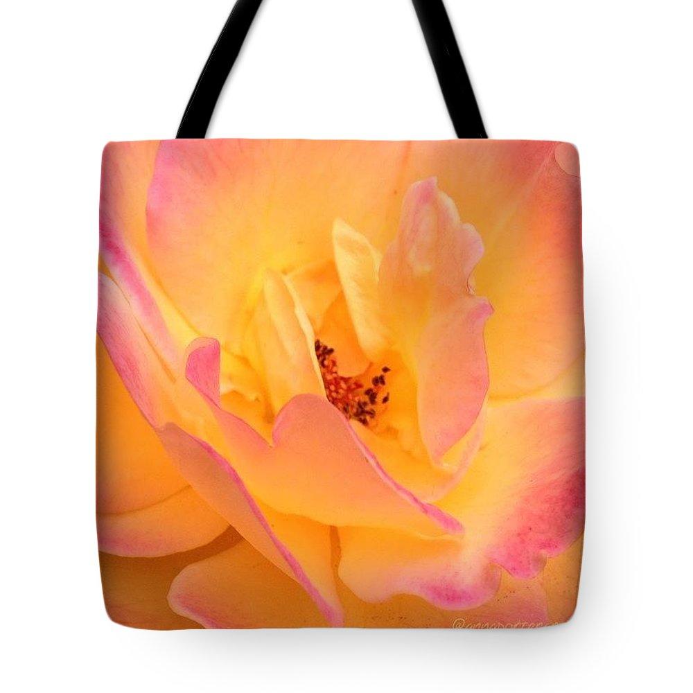 Peach Parfait Tote Bag featuring the photograph Peach Parfait by Anna Porter