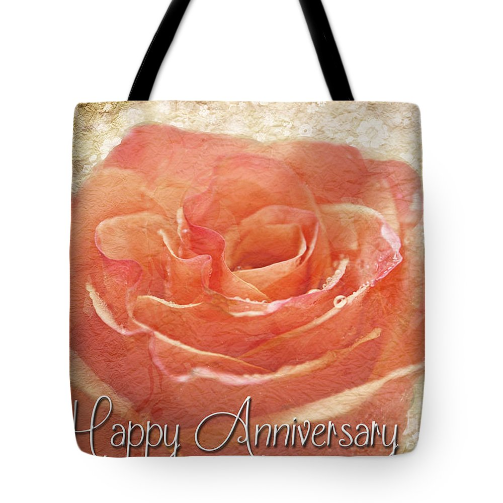 Dew Tote Bag featuring the photograph Peach Rose Anniversary Card by Debbie Portwood