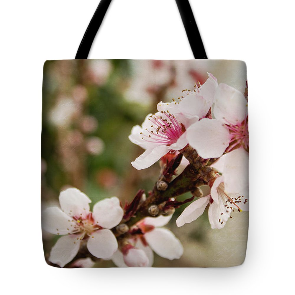Peach Tree Tote Bag featuring the photograph Peach Tree Blossoms by Mel Hensley