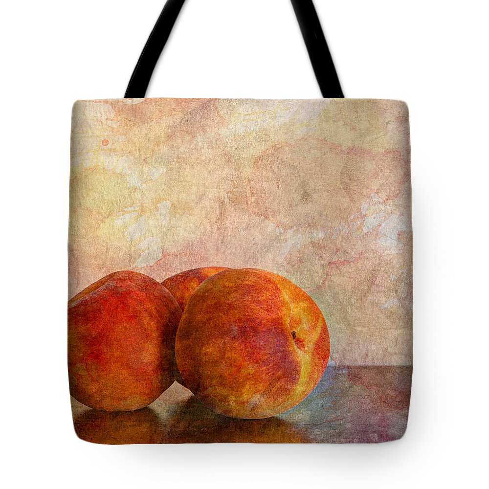 Agriculture Tote Bag featuring the photograph Peach Trio by Heidi Smith
