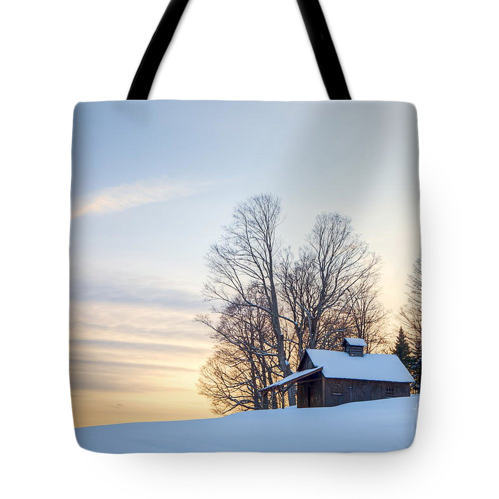 Agriculture Tote Bag featuring the photograph Peacham Sugarhouse by Susan Cole Kelly