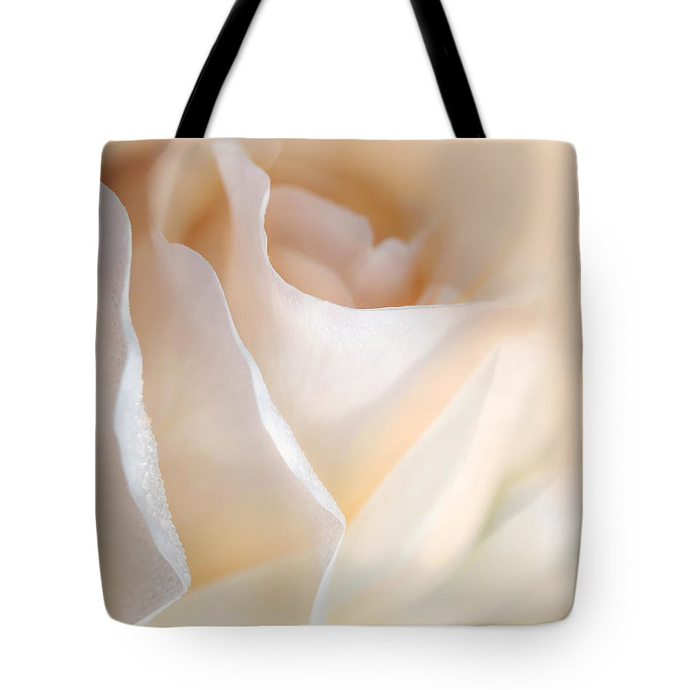 Rose Tote Bag featuring the photograph Peaches And Cream Rose Flower by Jennie Marie Schell
