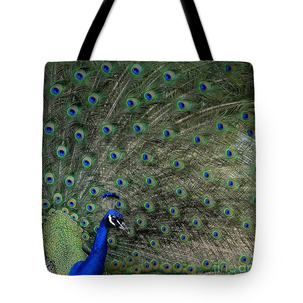 Peacock Tote Bag featuring the photograph Peacock 8 by Ben Yassa