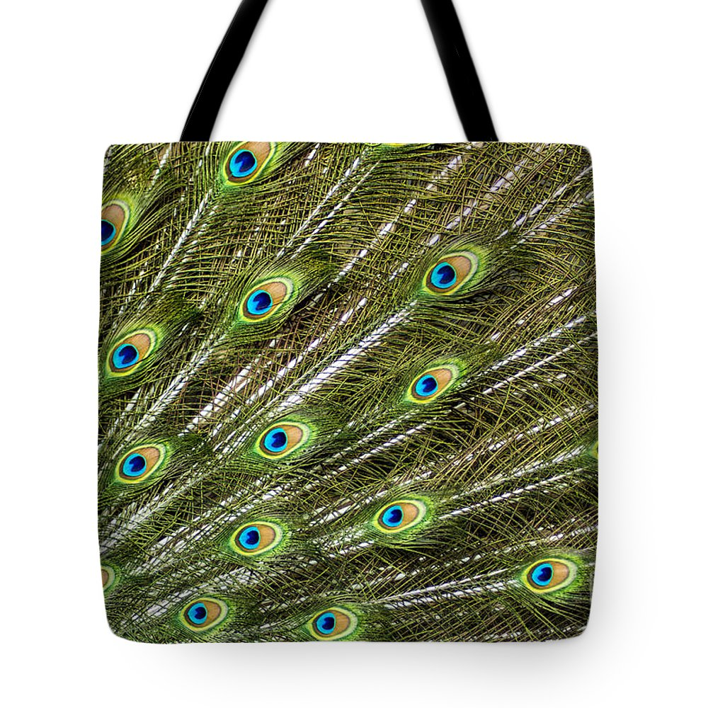 Peacock Tote Bag featuring the photograph Peacock Feather Abstract Pattern by Darleen Stry