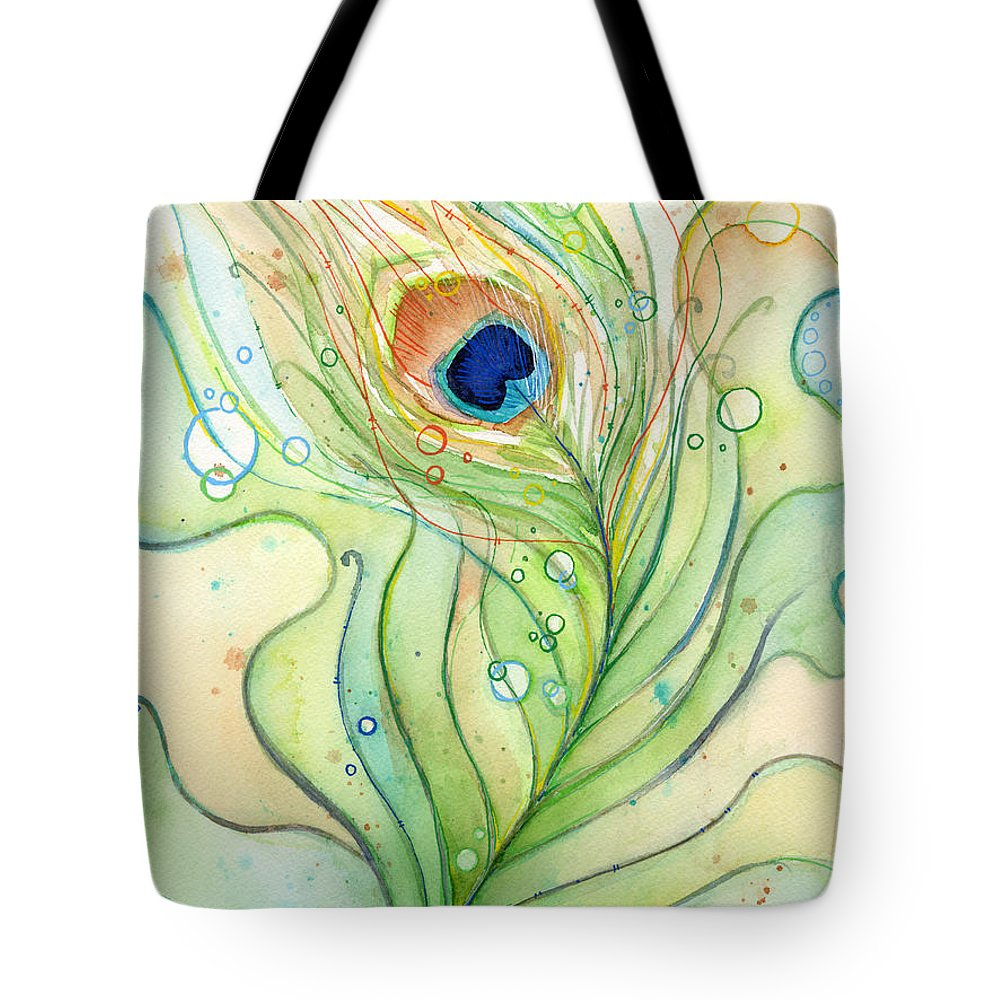 Peacock Tote Bag featuring the painting Peacock Feather Watercolor by Olga Shvartsur