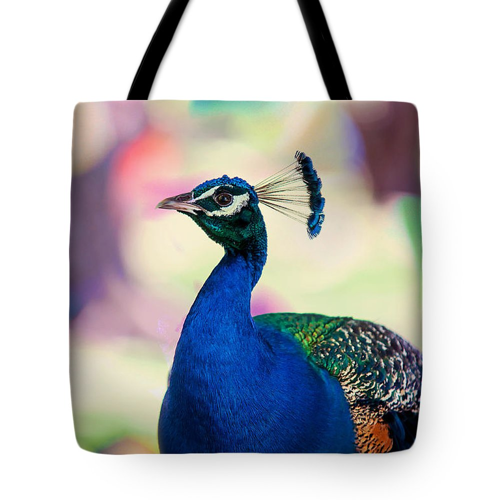 Peacock Tote Bag featuring the photograph Peacock I. Bird Of Paradise by Jenny Rainbow