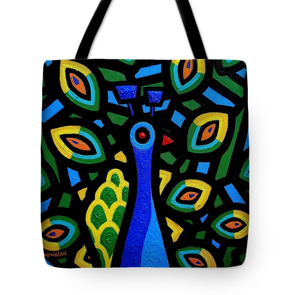 Ireland Tote Bag featuring the painting Peacock IIi by John Nolan