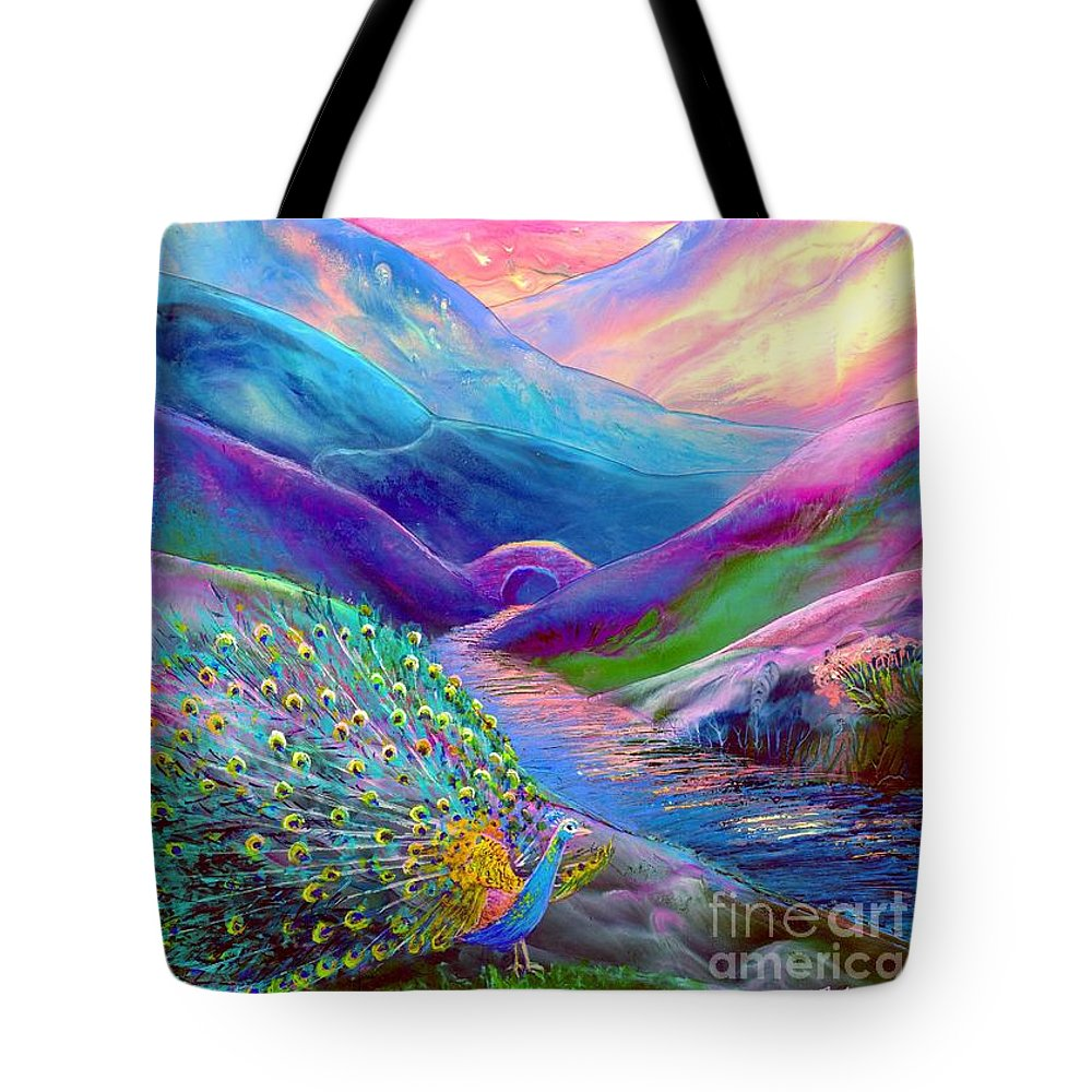 Sunset Tote Bag featuring the painting Peacock Magic by Jane Small