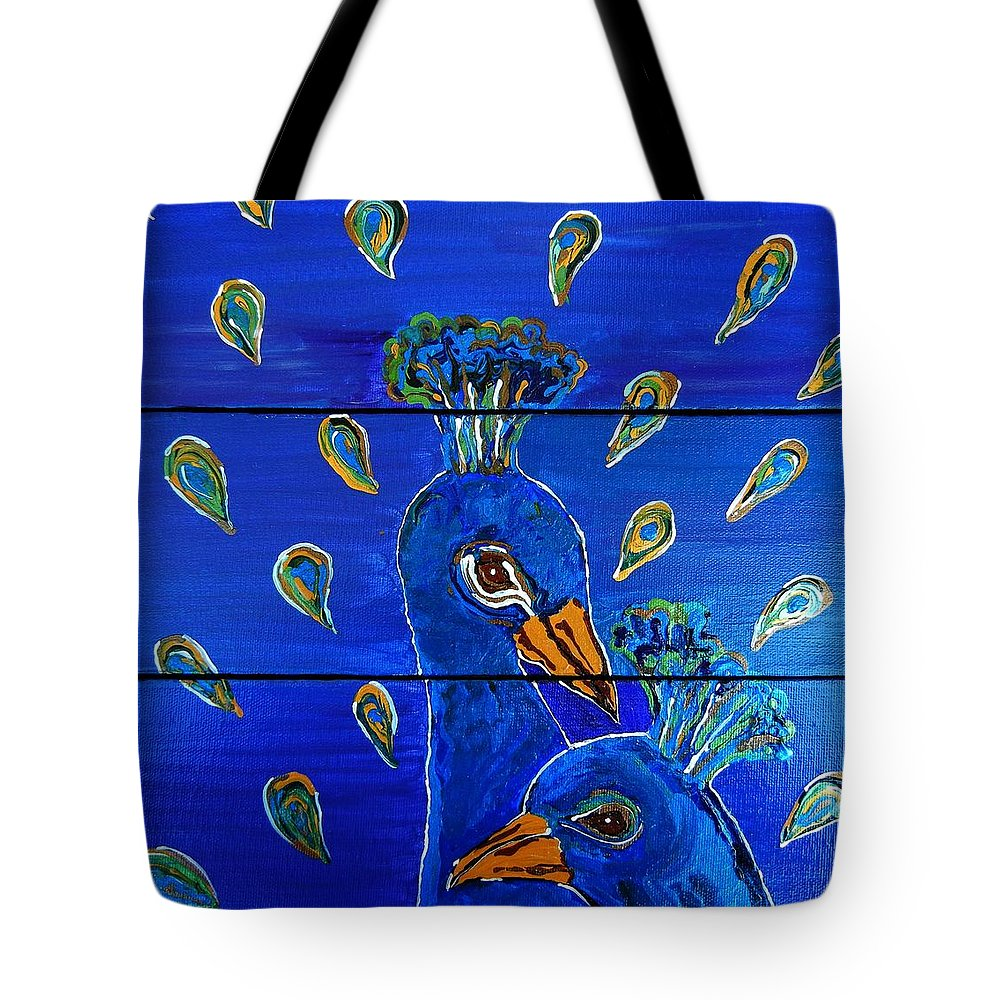 Peacock Tote Bag featuring the painting Peacock Vi by Kruti Shah