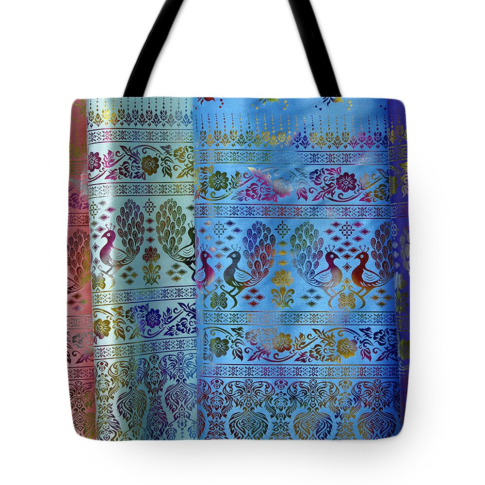 Asia Tote Bag featuring the photograph Peacocks On Silk by Michele Burgess