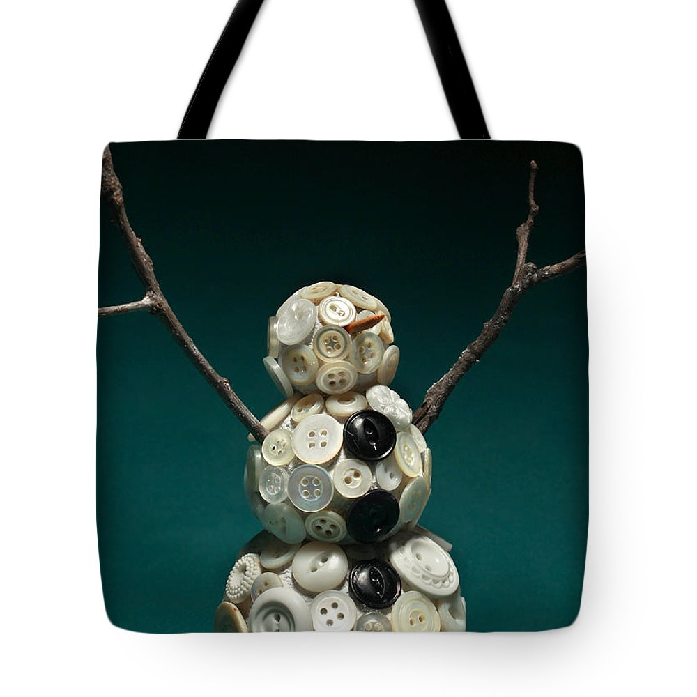 Snowman Tote Bag featuring the mixed media Pearly Snowman Christmas Card by Adam Long