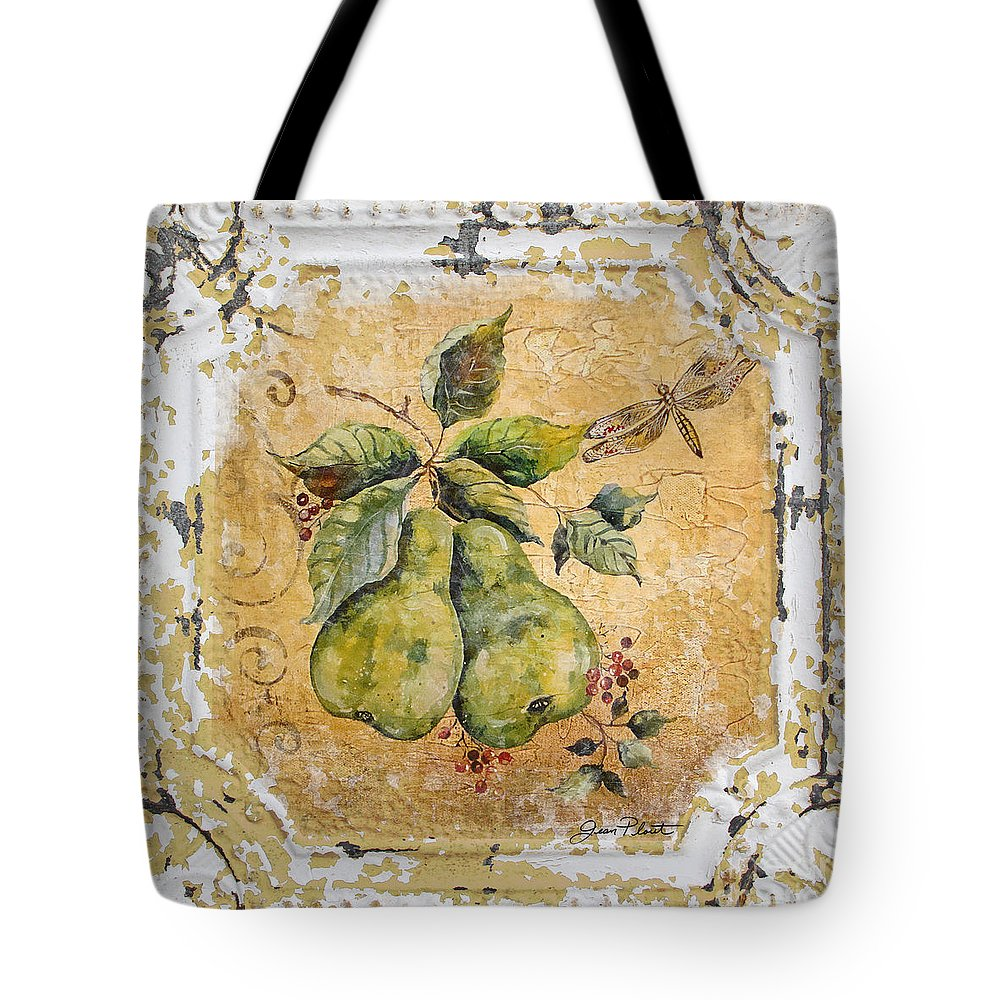 Acrylic Painting Tote Bag featuring the painting Pears And Dragonfly On Vintage Tin by Jean Plout