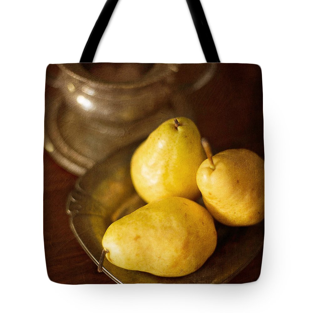 Fruit And Silver Still Life Tote Bag featuring the photograph Pears And Great Grandpa's Silver by Renee Hong