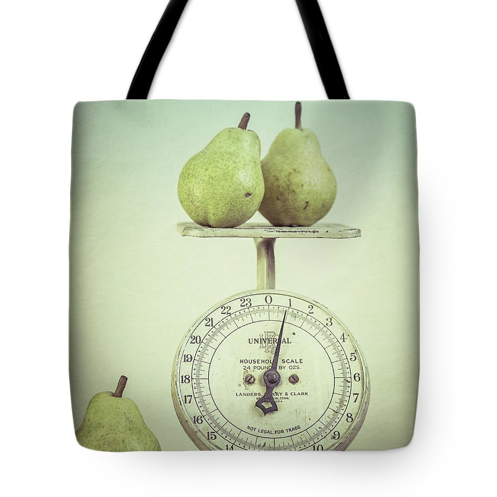 Food Tote Bag featuring the photograph Pears And Kitchen Scale Still Life by Edward Fielding