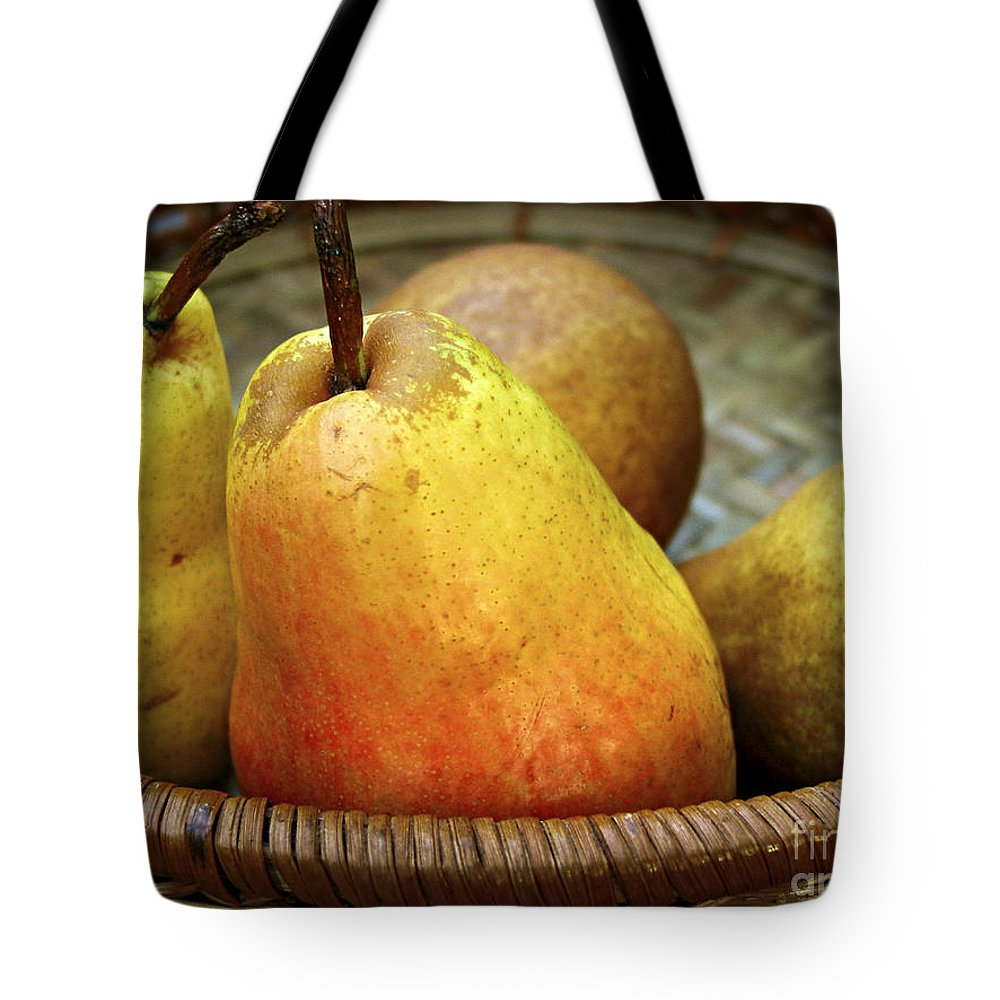 Autumn Tote Bag featuring the photograph Pears In A Basket by Elena Elisseeva