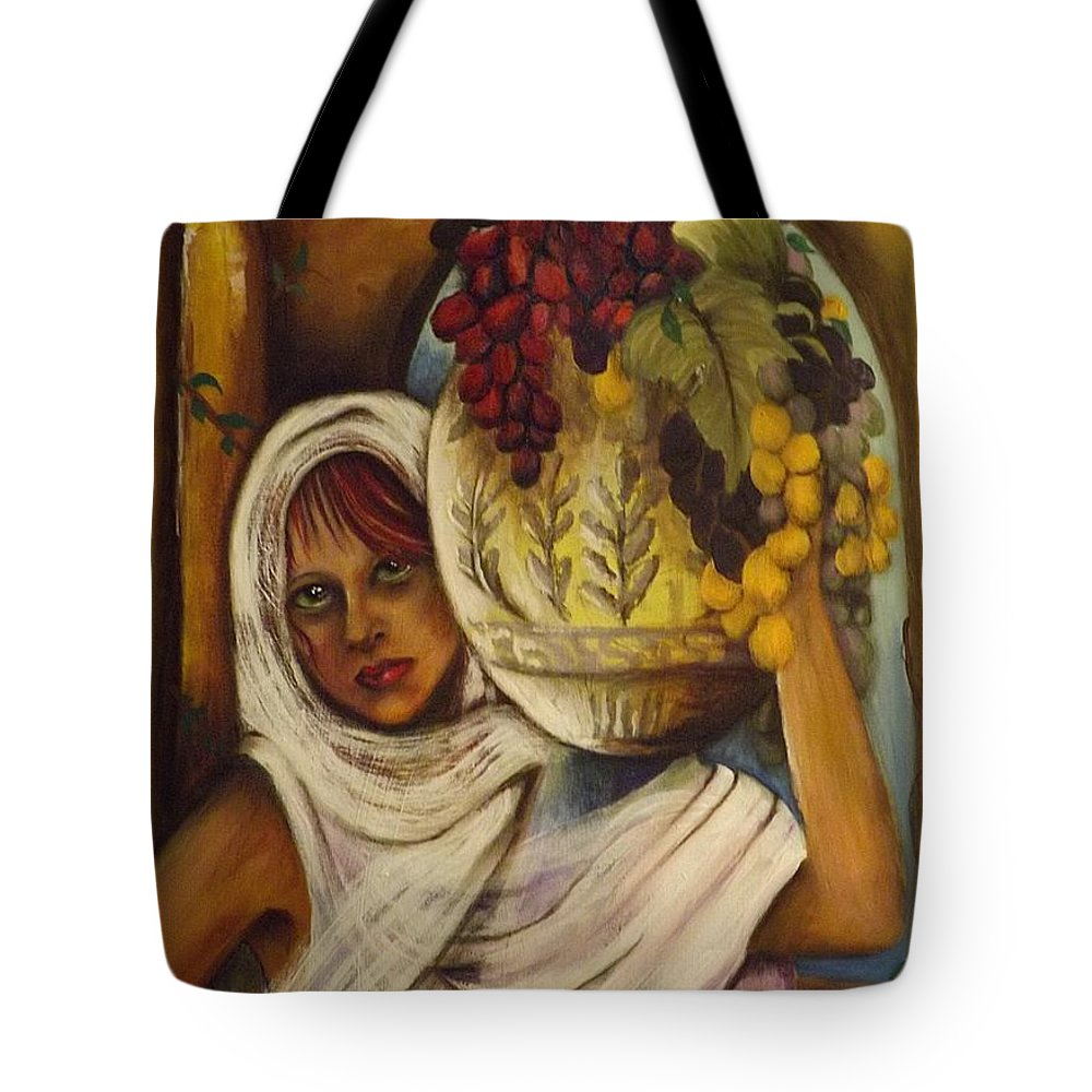Peasant Tote Bag featuring the painting Peasant Girl by Gr B