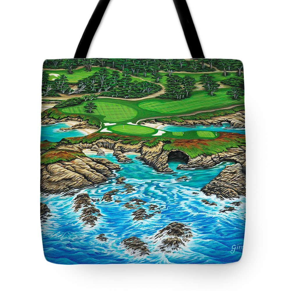 Ocean Tote Bag featuring the painting Pebble Beach 15th Hole-north by Jane Girardot