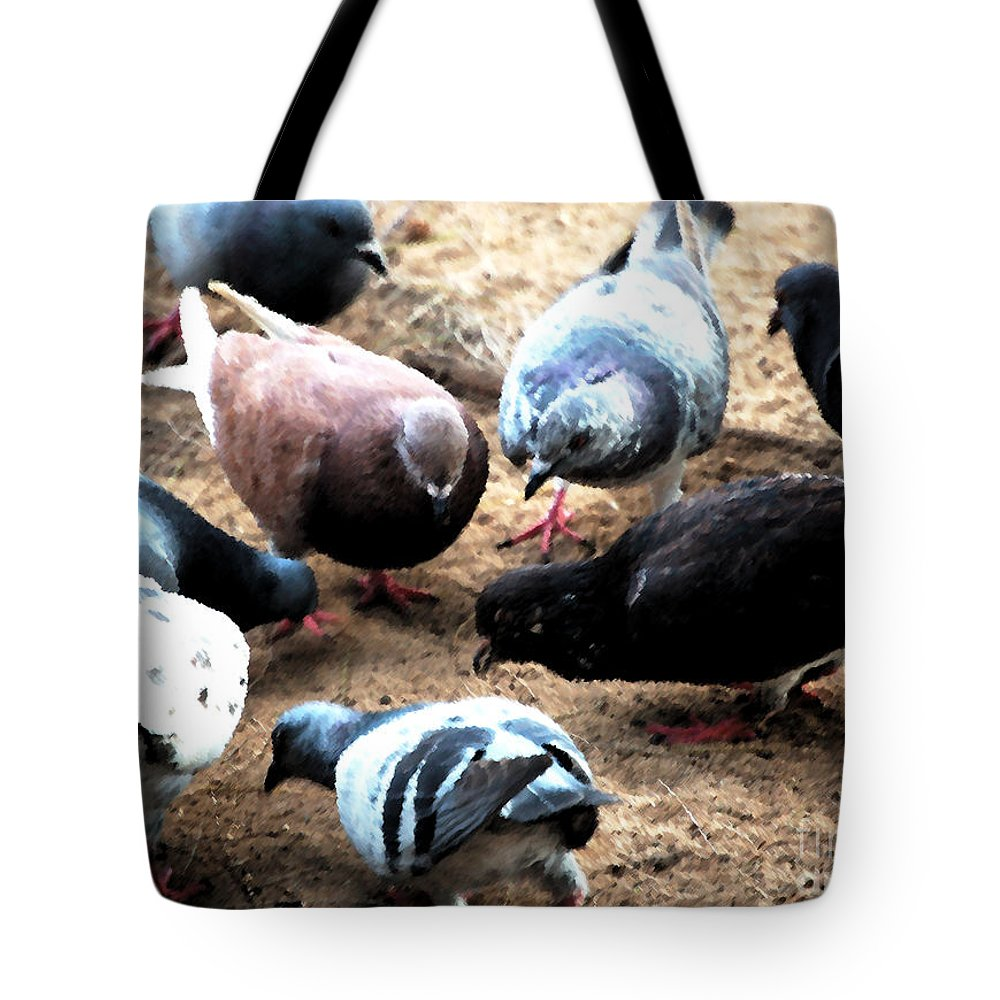 Dove Tote Bag featuring the photograph Pecking Order by Flamingo Graphix John Ellis