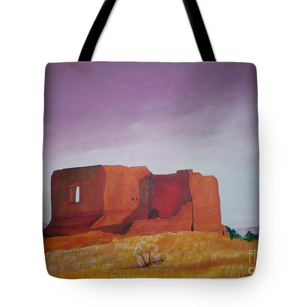 Western Tote Bag featuring the painting Pecos Mission Landscape by Eric Schiabor